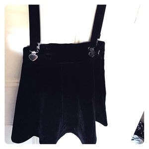 Dresses & Skirts - black velour skirt with suspenders